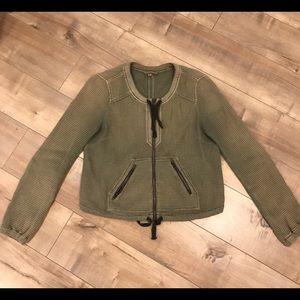 Free People Bomber Jacket Green/Tan Sz S